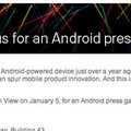 Google Android press conference for 5 January announced
