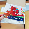 Dead Angry Bird delivered to Pocket-lint with note saying 'Don't F**k with the Fish'