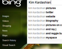 Kim Kardashian getting the Bing hits