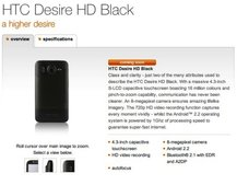HTC Desire HD in Black coming to Orange