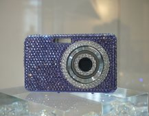 Swarovski crystal-encrusted Samsung cameras on show