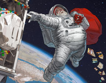 Santa went into space to deliver Chritmas presents, so he's forgiven for being late