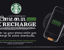 Starbucks is trialling wireless charging in some of its coffee shops