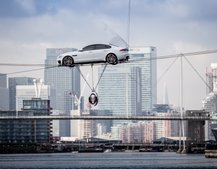 Bond stuntman reveals Jaguar XF 2015 during high-wire stunt, see it all here in pictures