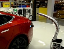 This is what Tesla's disturbing 'solid metal snake' charger looks like