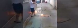 Video shows what happens when you hit a Samsung battery with a hammer, a massive explosion