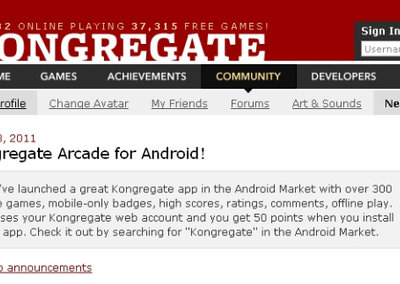 Kongregate Arcade boosts Android as viable gaming platform