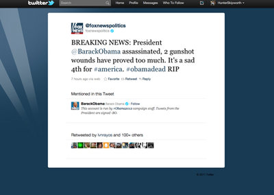 Fox News has Twitter feed hacked - claims Obama is dead