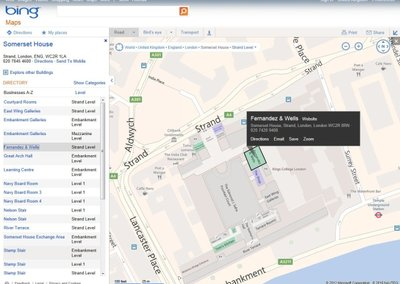 Somerset House venue map marked on Bing as Microsoft's mobile search focus goes local