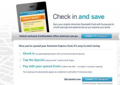 Foursquare partners with American Express for location based offers