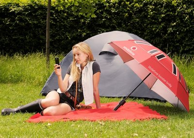 Vodafone Booster Brolly charges your phone, improves signal and keeps you dry