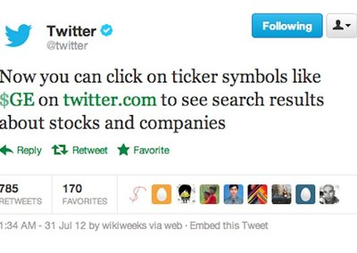 Twitter introduces cashtags stock symbol but is accused of stealing the idea from StockTwits