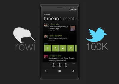 Rowi for Windows Phone hits 100K Twitter user limit