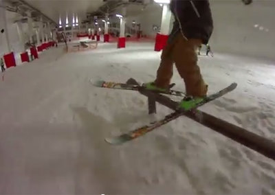 Pro skier Julian Ball puts a Sony Action Cam to the test as he warms up for London's Freeze Festival
