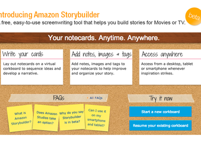 Amazon's Storybuilder tool lets you beat script notecards and save them in the cloud