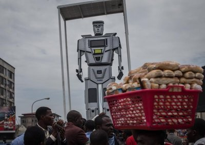Robocop police used in Congo, apparently to scare people in traffic