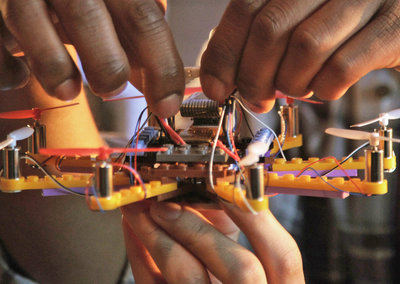 Flybrix is a do-it-yourself flying drone kit that uses Lego pieces