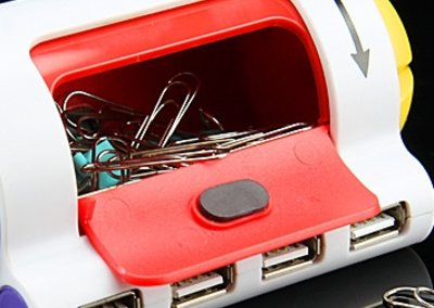 USB hub with paper-clip holder launches