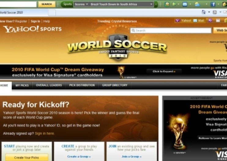 Yahoo gets in World Cup mood with themed toolbar