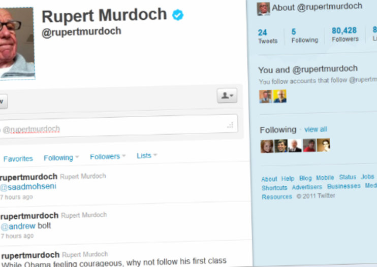 Rupert Murdoch joins Twitter following tumultuous 2011