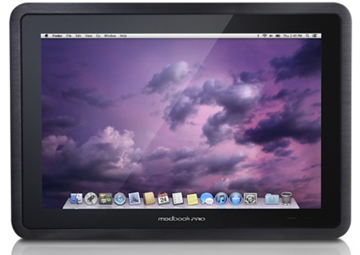 Modbook Pro is a tablet that runs on both Mac OS X Mountain Lion and Windows 7
