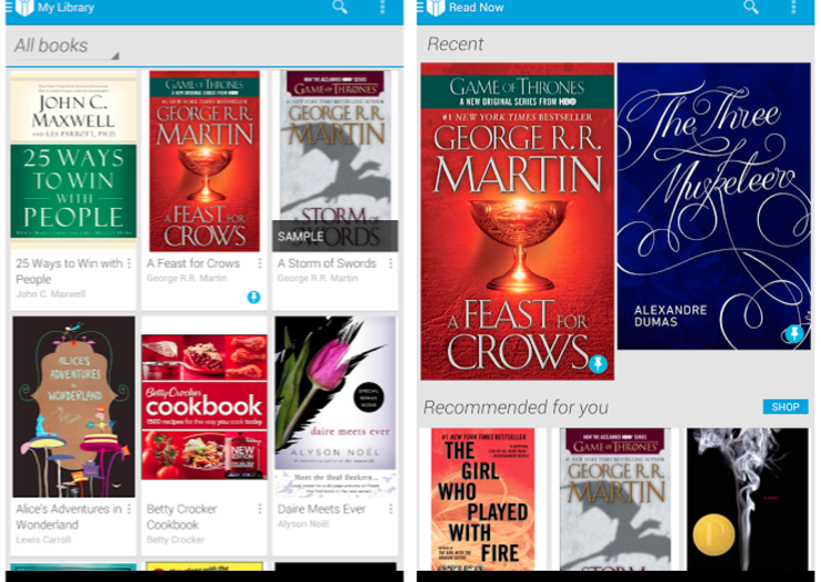 Google Play Books mobile app updated with your own book uploads from Google Drive