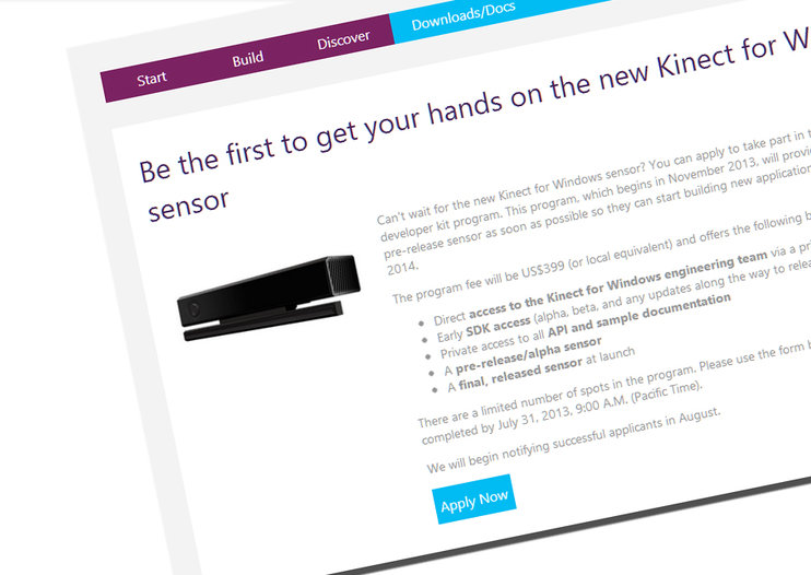 Developers offered new Xbox One-style Kinect sensor for Windows for $399