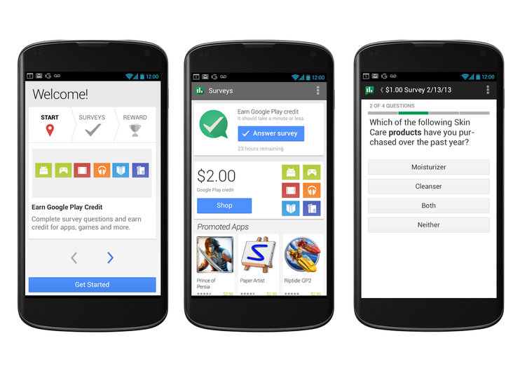 Want some free Play Store cash? Get the Google Opinion Rewards app