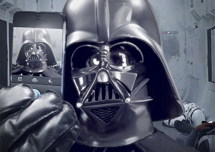 Darth Vader posts a selfie on Instagram using official Star Wars account