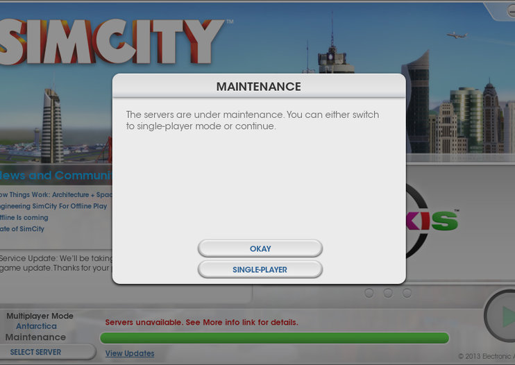 SimCity now offers offline mode, which is just as well as the servers are down