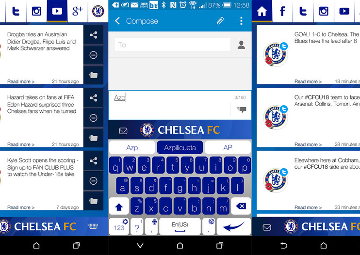 Man City and Chelsea fans can change their Android keyboards to club colours, iPhone coming soon