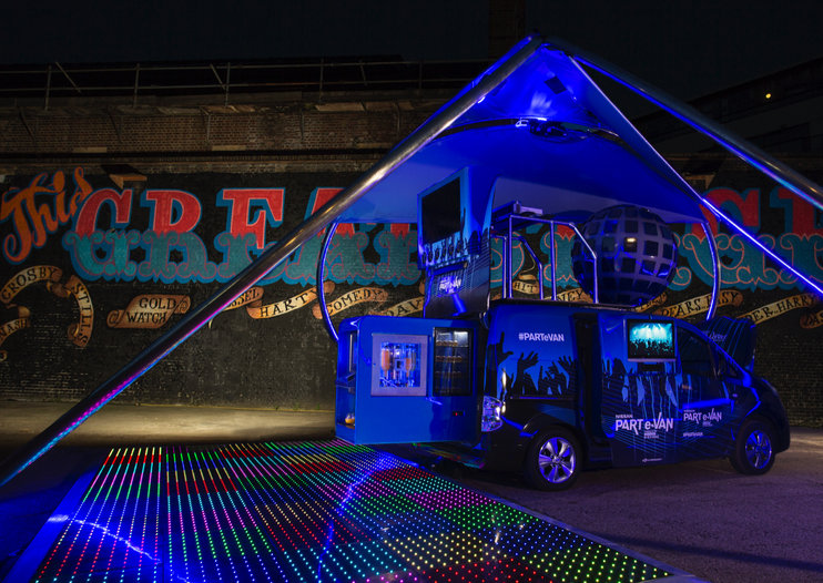 Party On! Nissan turns electric e-NV200 into a DJ party van