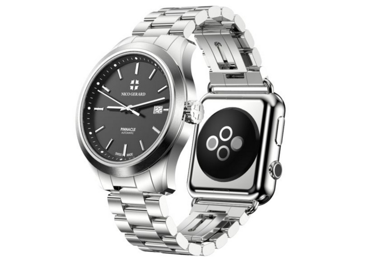 This Swiss timepiece lets you attach an Apple Watch to make a double-sided watch