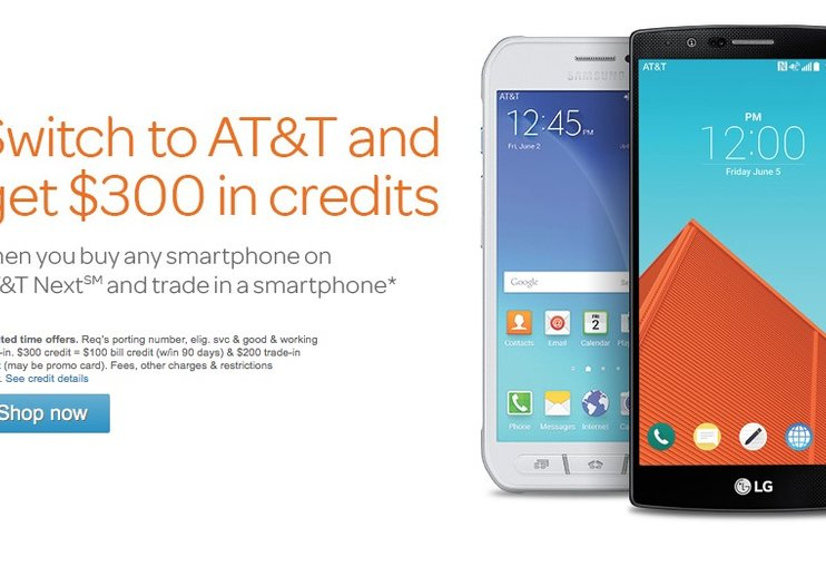 Switch to AT&T and get $300 in credits when you buy a Smartphone on AT&T Next and trade in a smartphone