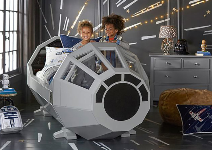 This Millennium Falcon bed is for kids but we want one too