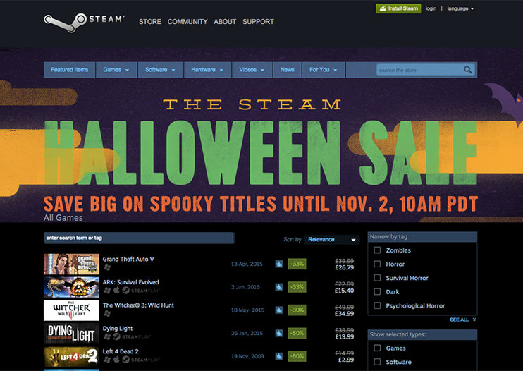Steam Halloween sale: Grab GTA V, The Witcher 3, Bioshock Infinite and more for cheap