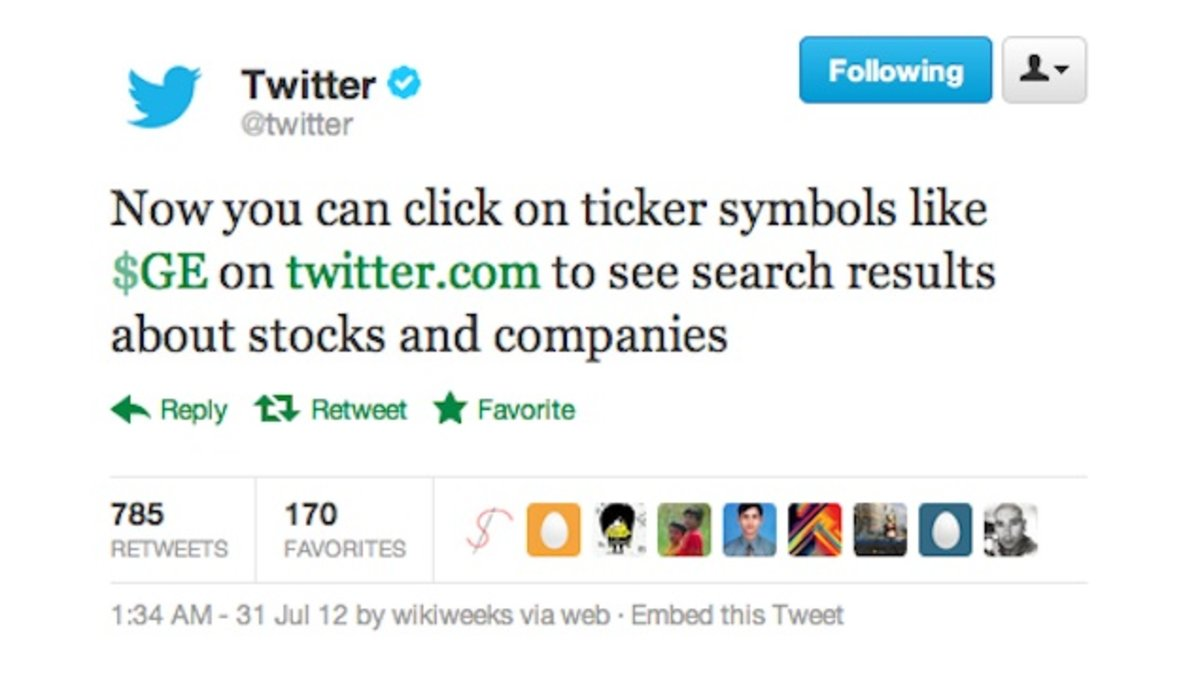 Twitter introduces cashtags stock symbol but is accused of stealing twitter introduces cashtags stock symbol but is accused of stealing the idea from stocktwits pocket lint biocorpaavc Image collections