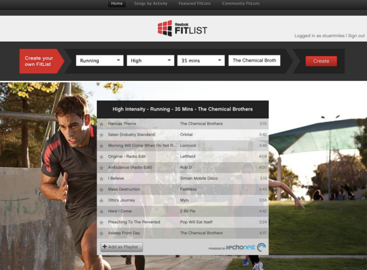 Reebok FitList Spotify app: Create the ultimate running playlis