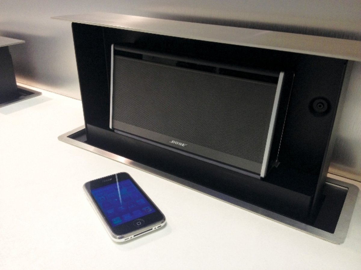 s box integrates pop up ipad tv or bose radio into your kitchen