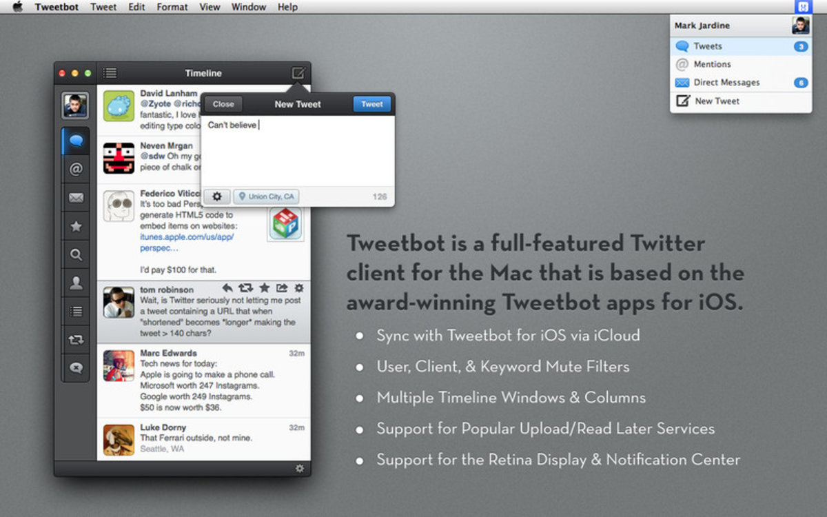 Tweetbot for Mac: New media timeline and profile cover image su