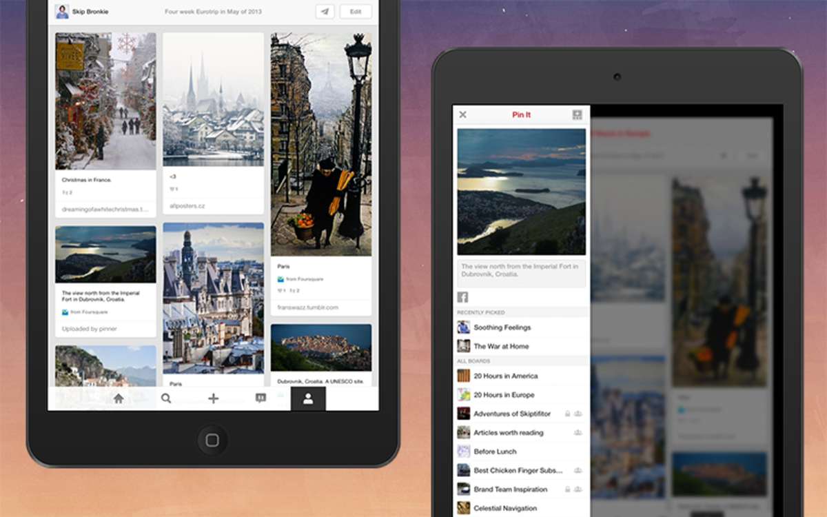 Pinterest for iPad update rolls out new iOS 7 look, bottom nav