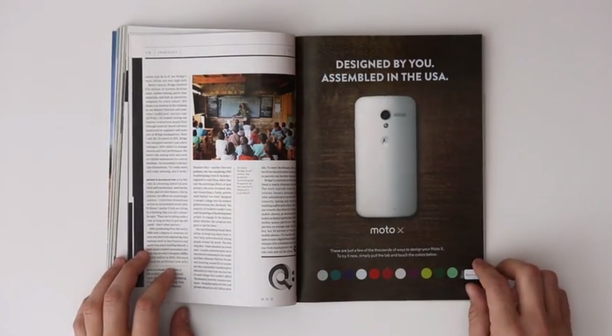 Moto Maker Goes Offline Check Out Xs Interactive Print Ad In Wired
