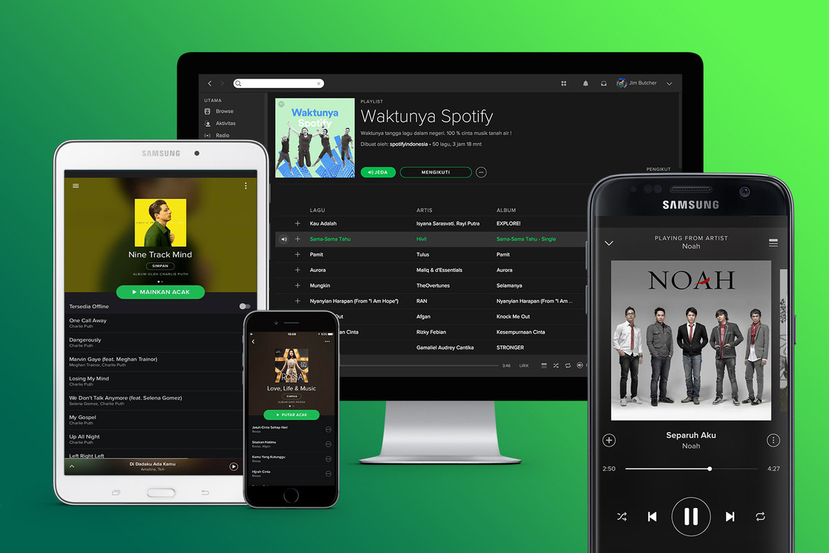 An image of Spotify, an alternative to Deezer.