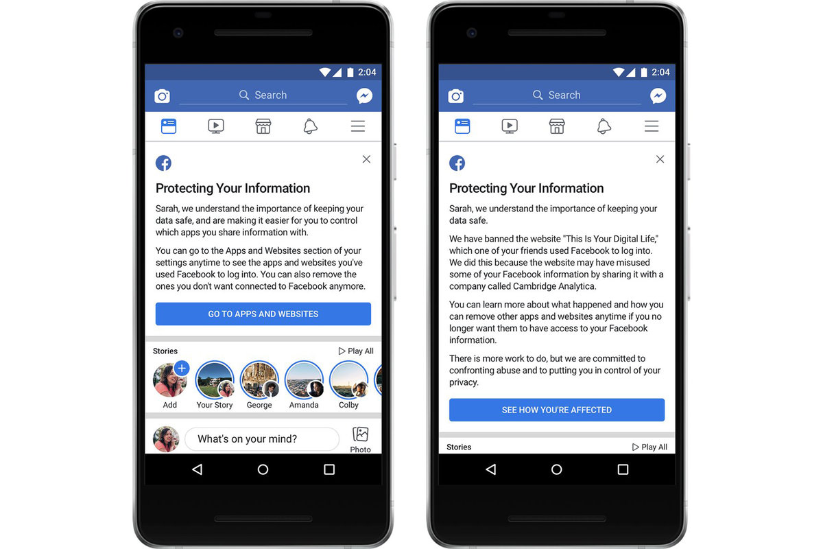 Facebook sends warning message to users affected by Cambridge A