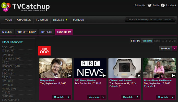 Tvcatchup Adds Catch Up Tv To Service Bbc Iplayer 4od