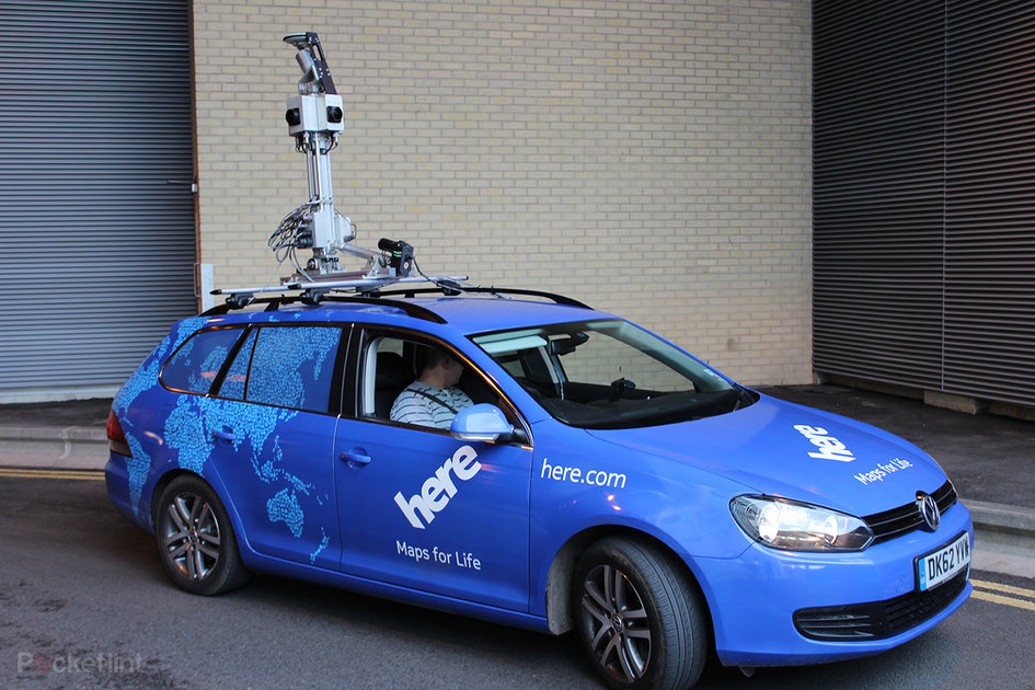HERE Maps street view cars read road signs: We hitch a ride in