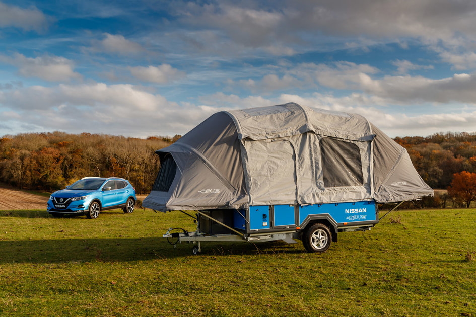 Nissan x Opus camper plus EV battery equals glamping made easy