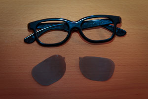 Take apart the cheap sunglasses for the 3D glasses