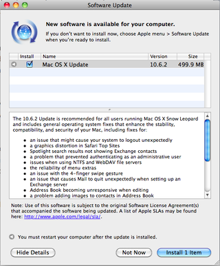 Snow Leopard 10.6.2 update out