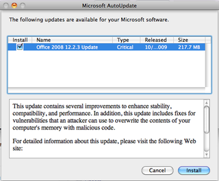 Microsoft issues update for Office 2008 for Mac
